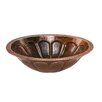 Premier Copper Products Oval Sunburst Undermount Hammered Copper Sink