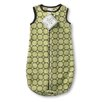 Swaddle Designs zzZipMe Sack in Pastel Lime with Brown Mod Circles