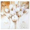 <strong>Yosemite Home Decor</strong> Revealed Artwork Pale Tulips 3 Piece Original Painting on Canvas Set