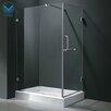 Vigo Acrylic Pivot Door Glass Frameless Shower Enclosure with Base