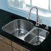 """Vigo Platinum 31.5"""" x 20.5"""" Undermount Stainless Steel Kitchen Sink with Faucet"""