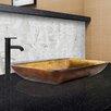 Vigo Rectangular Glass Vessel Bathroom Sink and Seville Faucet Set
