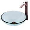 Vigo Sheer Sepia Glass Vessel Bathroom Sink and Otis Faucet Set