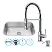 "Vigo 30"" x 19"" Undermount Kitchen Sink with Faucet, Colander, Strainer and Dispenser"