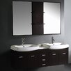 "Vigo Contemporary 59"" Double Bathroom Vanity Set with Mirror"