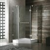 <strong>Vigo</strong> Neo-Angle Door Frameless Frosted Shower Enclosure with Base and Right Handed Door