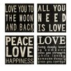 IMAX Collier 4 Piece Textual Plaque Set in Black and White