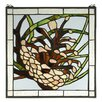 <strong>Lodge Tiffany Pinecone Stained Glass Window</strong> by Meyda Tiffany