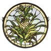 Meyda Tiffany Welcome Pineapple Medallion Stained Glass Window