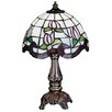 "Meyda Tiffany Floral Rose Border Mini 11.5"" H Table Lamp with Bowl Shade"