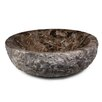 Xylem Round Marble Vessel Bathroom Sink with Rough Exterior