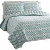 City Scene Square Game Lagoon Quilt Set in Blue