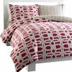 City Scene Labyrinth Duvet Cover Set in Red