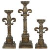 <strong>Crestview Collection</strong> Traditions 3 Piece Resin Florence Candlestick Set