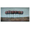 Crestview Collection Lone Red Trees Stretched Canvas High Gloss Oil Painting Print on Canvas