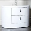 Abbyson Living Jengo White High Gloss Nightstand