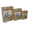 <strong>Cheungs</strong> 3 Piece Vinyl Book Box with Coastal Ship Print Set