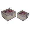 Cheungs 2 Piece Flat Top Square Keep Sake Box with Colorful Peace Design Set