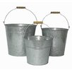 Cheungs 3 Piece Galvanized Bucket Set