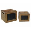 Cheungs 2 Piece Square Chalkboard Storage Crate with Side Handles