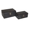 Cheungs 2 Piece Wooden Fan Print Treasure Box Set