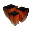 <strong>Cheungs</strong> Three Piece Wooden Curved Tapered Square Planter Set in Reddish Brown