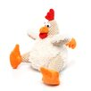 Fat White Corduroy Rooster Dog Toy with Chew Guard