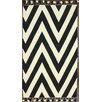 nuLOOM Flatweave Black/White Wave Border Area Rug
