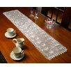 Violet Linen Crystal Embroidered Lace Table Runner
