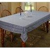 Violet Linen Hem Stitch Embroidered Vintage Design Tablecloth