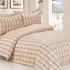 Violet Linen French Soft Brown Plaid Luxurious 6 Piece Duvet Set
