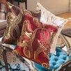 Violet Linen Marvelous Vintage Embroidered Sequins Decorative Throw Pillow