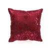 Violet Linen Blossom Embroidered Sequins Decorative Throw Pillow