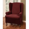 Maytex Reeves Stretch One Piece Wing Chair T-Cushion Slipcover