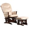 Dutailier Two Post Multiposition Recline Glider with Plush Cushion & Ottoman
