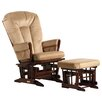 Dutailier Two Post Multiposition Recline Glider with V Cushion & Ottoman