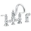 Waterhill Two Handle Widespread High Arc Bridge Faucet with Convenient Side Spray