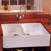 """Franke Manor House 35.5"""" x 21.63"""" Fireclay Double Bowl Apron Front Kitchen Sink"""