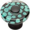 "Atlas Homewares Glass 1.5"" Emarld Polka Dot Square Knob"