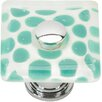 "Atlas Homewares Glass 1.5"" Emerald Polka Dot Round Knob"