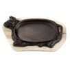 Paderno World Cuisine Cast Iron Sizzling Platter with Wooden Tray