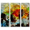 <strong>All My Walls</strong> 'Picturesque Palms' by Ash Car 3 Piece Original Painting on Metal Plaque