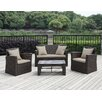 Handy Living 4 Piece Deep Seating Group with Cushion