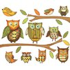 Owls Branches Pre-Pasted Accent Mural in Orange