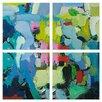 Pro Tour Memorabilia Blue Modern Swatches 4 Piece Quadriptych Painting Print Plaque Set