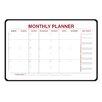 Ghent 2x3' Monthly Planner Whiteboard - 1 Marker & Eraser - Radius Corners - Black Vinyl Frame