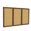 Ghent 3 Door Wood Frame Enclosed Natural Cork Bulletin Board