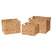 Emissary Home and Garden 3 Piece Rectangle Water Hyacinth Basket Set