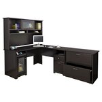 Cabot L-Shaped Desk with Hutch & Lateral File in Espresso
