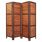Saigon 4 Panel Room Divider in Brown